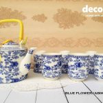 CAPODIMONTE Japanese Tea Set AB06 Blue Flower
