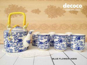CAPODIMONTE-TEA-SET-JEPANG-BLUE-FLOWER