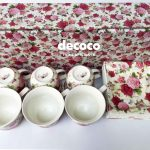 Capodimonte Cup Saucer 12pc Butterfly Rose Square