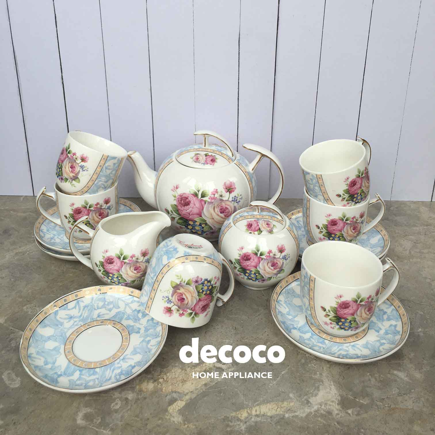 CAPODIMONTE Tea Set 17pc F17 (BABY BLUE)