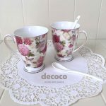 CAPODIMONTE Mug with Spoon Set Butterfly Rose