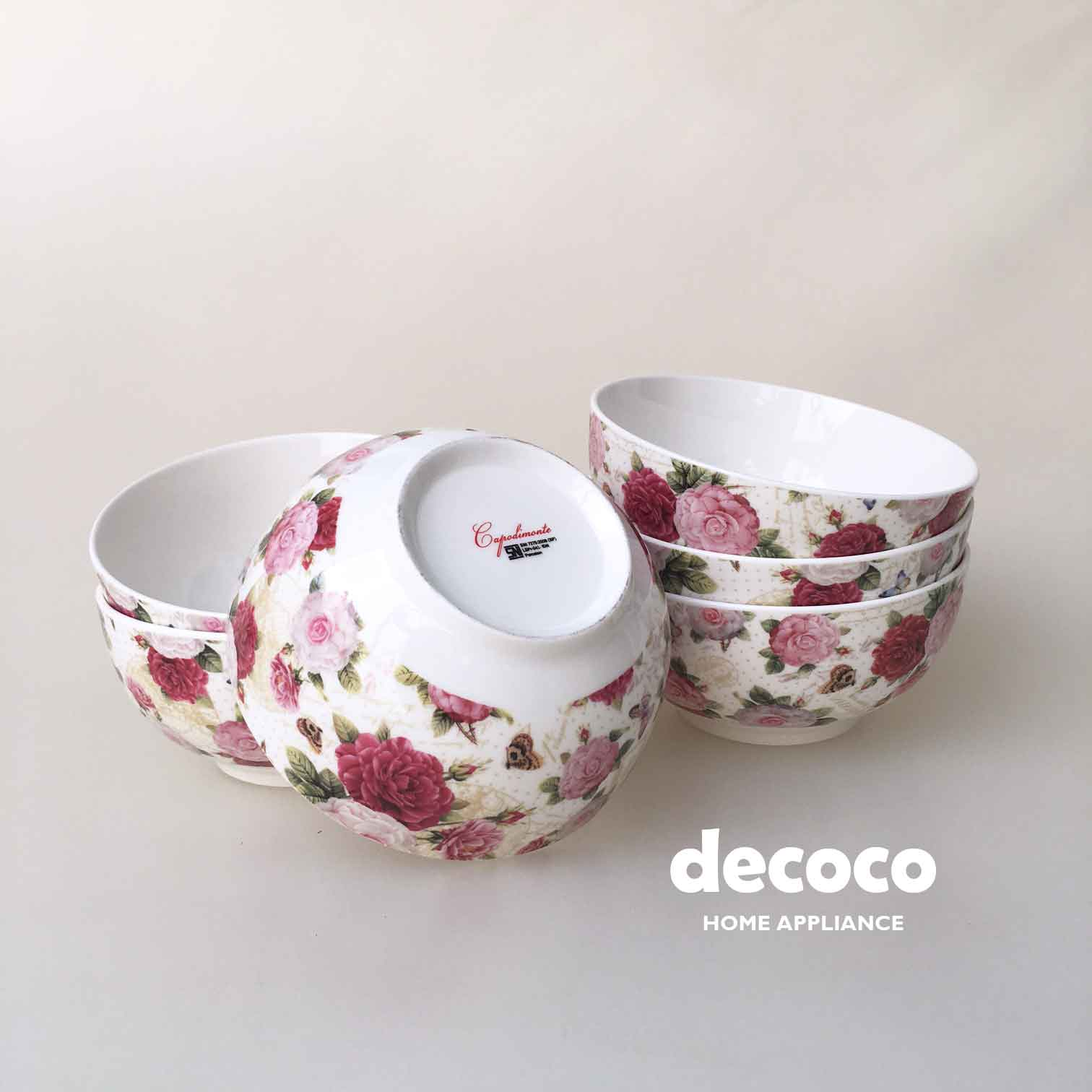 CAPODIMONTE-BOWL-SET-BUTTERFLY-ROSE-