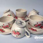 Napoleon Cangkir Lepek Cup Saucer Mawar 12pc Tatakan Keramik Kopi Set Tea Set Napoleon Murah Keramik